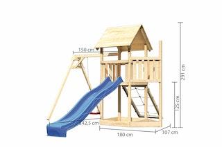 Akubi Kinderspielturm Lotti mit Satteldach inkl. Schiffsanbau oben, Wellenrutsche, Netzrampe und Einzelschaukelanbau