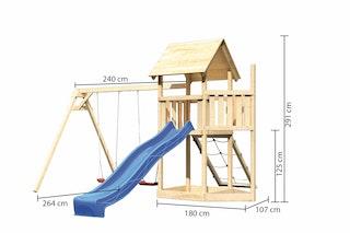 Akubi Kinderspielturm Lotti mit Satteldach inkl. Schiffsanbau oben, Wellenrutsche, Netzrampe und Doppelschaukelanbau