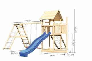 Akubi Kinderspielturm Lotti mit Satteldach inkl. Schiffsanbau oben, Wellenrutsche, Netzrampe, Doppelschaukelanbau und Klettergerüst