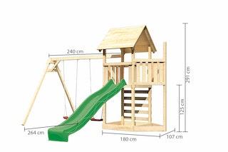 Akubi Kinderspielturm Lotti mit Satteldach inkl. Schiffsanbau oben, Wellenrutsche, Kletterwand und Doppelschaukelanbau
