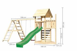 Akubi Kinderspielturm Lotti mit Satteldach inkl. Schiffsanbau oben, Wellenrutsche, Kletterwand, Doppelschaukelanbau und Klettergerüst