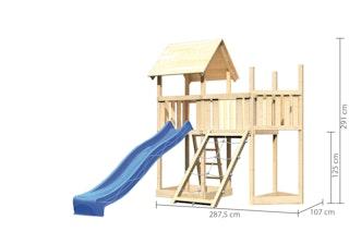 Akubi Kinderspielturm Lotti mit Satteldach inkl. Schiffsanbau oben, Rutsche, Netzrampe und Anbauplattform