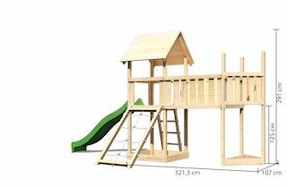 Akubi Kinderspielturm Lotti mit Satteldach inkl. Schiffsanbau oben, Rutsche, Netzrampe und Anbauplattform XL
