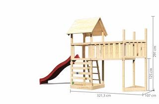 Akubi Kinderspielturm Lotti mit Satteldach inkl. Schiffsanbau oben, Rutsche, Kletterwand und Anbauplattform XL