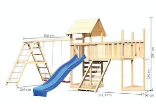 Akubi Kinderspielturm Lotti Mega Set mit Satteldach