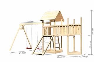 Akubi Kinderspielturm Lotti mit Satteldach inkl. Schiffsanbau oben, Anbauplattform, Doppelschaukelanbau und Netzrampe