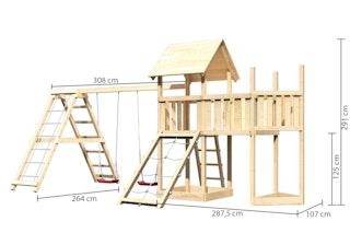 Akubi Kinderspielturm Lotti mit Satteldach inkl. Schiffsanbau oben, Anbauplattform, Doppelschaukelanbau, Klettergerüst und Netzrampe