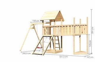 Akubi Kinderspielturm Lotti mit Satteldach inkl. Schiffsanbau oben, Anbauplattform XL, Einzelschaukelanbau und Netzrampe