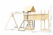 Akubi Kinderspielturm Lotti mit Satteldach inkl. Schiffsanbau oben, Anbauplattform XL, Doppelschaukelanbau und Netzrampe