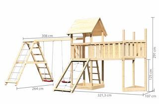Akubi Kinderspielturm Lotti mit Satteldach inkl. Schiffsanbau oben, Anbauplattform XL, Netzrampe, Doppelschaukelanbau und Klettergerüst