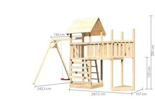 Akubi Kinderspielturm Lotti mit Satteldach inkl. Schiffsanbau oben, Anbauplattform, Einzelschaukelanbau und Kletterwand
