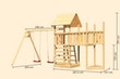 Akubi Kinderspielturm Lotti mit Satteldach inkl. Schiffsanbau oben, Anbauplattform, Doppelschaukelanbau und Kletterwand