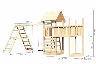 Akubi Kinderspielturm Lotti mit Satteldach inkl. Schiffsanbau oben, Anbauplattform, Doppelschaukelanbau, Klettergerüst und Kletterwand