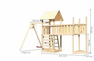 Akubi Kinderspielturm Lotti mit Satteldach inkl. Schiffsanbau oben, Anbauplattform XL, Einzelschaukelanbau und Kletterwand