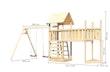 Akubi Kinderspielturm Lotti mit Satteldach inkl. Schiffsanbau oben, Anbauplattform XL, Doppelschaukelanbau und Kletterwand