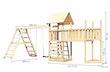 Akubi Kinderspielturm Lotti mit Satteldach inkl. Schiffsanbau oben, Anbauplattform XL, Kletterwand, Doppelschaukelanbau und Klettergerüst
