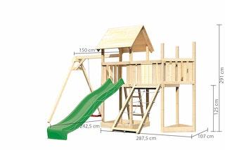 Akubi Kinderspielturm Lotti mit Satteldach inkl. Schiffsanbau oben, Anbauplattform, Einzelschaukelanbau, Wellenrutsche und Netzrampe