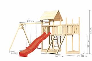 Akubi Kinderspielturm Lotti mit Satteldach inkl. Schiffsanbau oben, Anbauplattform, Doppelschaukelanbau, Wellenrutsche und Netzrampe