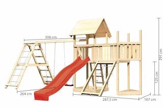 Akubi Kinderspielturm Lotti mit Satteldach inkl. Schiffsanbau oben, Anbauplattform, Doppelschaukelanbau, Klettergerüst, Wellenrutsche und Netzrampe