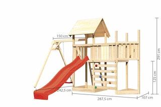 Akubi Kinderspielturm Lotti mit Satteldach inkl. Schiffsanbau oben, Anbauplattform, Einzelschaukelanbau, Wellenrutsche und Kletterwand