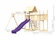 Akubi Kinderspielturm Lotti mit Satteldach inkl. Schiffsanbau oben, Anbauplattform, Doppelschaukelanbau, Wellenrutsche und Kletterwand