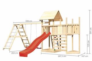 Akubi Kinderspielturm Lotti mit Satteldach inkl. Schiffsanbau oben, Anbauplattform, Doppelschaukelanbau, Klettergerüst, Wellenrutsche und Kletterwand