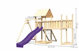 Akubi Kinderspielturm Lotti mit Satteldach inkl. Schiffsanbau oben, Anbauplattform XL, Einzelschaukelanbau, Netzrampe und Wellenrutsche