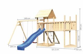 Akubi Kinderspielturm Lotti mit Satteldach inkl. Schiffsanbau oben, Anbauplattform XL, Doppelschaukelanbau, Netzrampe und Wellenrutsche