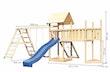 Akubi Kinderspielturm Lotti mit Satteldach inkl. Schiffsanbau oben, Anbauplattform XL, Netzrampe, Wellenrutsche, Doppelschaukelanbau und Klettergerüst
