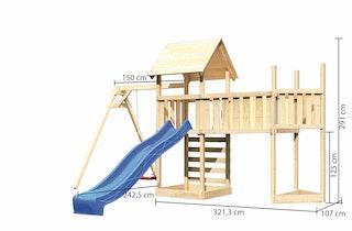 Akubi Kinderspielturm Lotti mit Satteldach inkl. Schiffsanbau oben, Anbauplattform XL, Einzelschaukelanbau, Kletterwand und Wellenrutsche