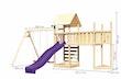 Akubi Kinderspielturm Lotti mit Satteldach inkl. Schiffsanbau oben, Anbauplattform XL, Doppelschaukelanbau, Kletterwand und Wellenrutsche