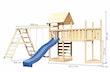 Akubi Kinderspielturm Lotti mit Satteldach inkl. Schiffsanbau oben, Anbauplattform XL, Kletterwand, Wellenrutsche, Doppelschaukelanbau und Klettergerüst