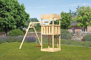 Akubi Kinderspielturm Ritterburg Löwenherz mit Einzelschaukelanbau