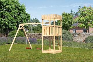 Akubi Kinderspielturm Ritterburg Löwenherz mit Doppelschaukelanbau