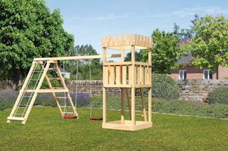 Akubi Kinderspielturm Ritterburg Löwenherz mit Doppelschaukelanbau und Klettergerüst