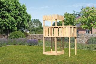 Akubi Kinderspielturm Ritterburg Löwenherz mit Anbauplattform