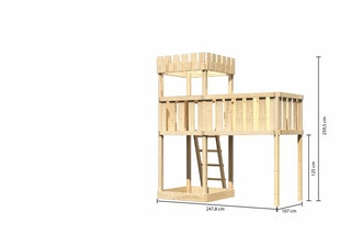 Akubi Kinderspielturm Ritterburg Löwenherz mit Anbauplattform XL