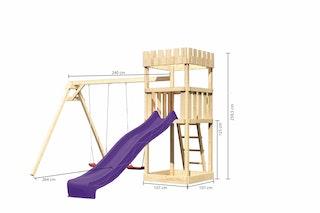 Akubi Kinderspielturm Ritterburg Löwenherz inkl. Wellenrutsche und Doppelschaukelanbau