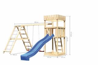 Akubi Kinderspielturm Ritterburg Löwenherz inkl. Wellenrutsche und Doppelschaukelanbau mit Klettergerüst
