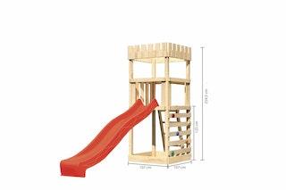 Akubi Kinderspielturm Ritterburg Löwenherz inkl. Wellenrutsche und Kletterwand