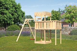 Akubi Kinderspielturm Ritterburg Löwenherz inkl. Einzelschaukelanbau und Anbauplattform