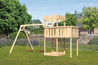 Akubi Kinderspielturm Ritterburg Löwenherz inkl. Doppelschaukelanbau und Anbauplattform