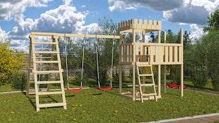 Akubi Kinderspielturm Ritterburg Löwenherz inkl. Anbauplattform, Doppelschaukelanbau und Klettergerüst