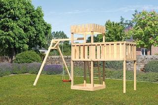 Akubi Kinderspielturm Ritterburg Löwenherz inkl. Einzelschaukelanbau und Anbauplattform XL