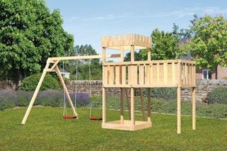 Akubi Kinderspielturm Ritterburg Löwenherz inkl. Doppelschaukelanbau und Anbauplattform XL