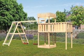 Akubi Kinderspielturm Ritterburg Löwenherz inkl. Anbauplattform XL, Doppelschaukelanbau und Klettergerüst