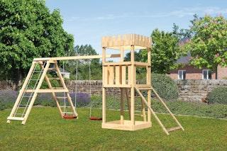 Akubi Kinderspielturm Ritterburg Löwenherz inkl. Doppelschaukelanbau mit Klettergerüst und Netzrampe