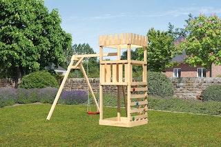 Akubi Kinderspielturm Ritterburg Löwenherz inkl. Einzelschaukelanbau und Kletterwand