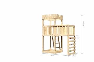 Akubi Kinderspielturm Ritterburg Löwenherz inkl. Anbauplattform und Kletterwand