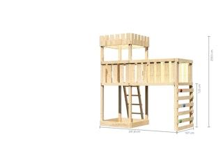 Akubi Kinderspielturm Ritterburg Löwenherz inkl. Anbauplattform XL und Kletterwand